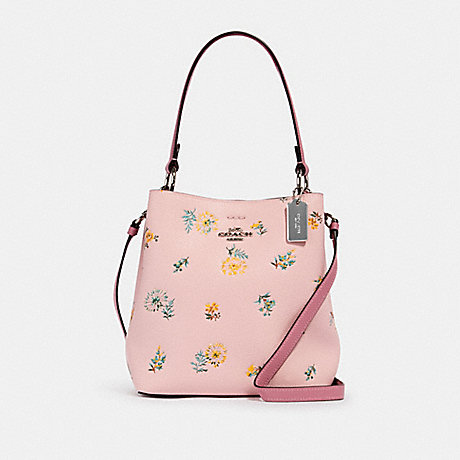 COACH 2310 SMALL TOWN BUCKET BAG WITH DANDELION FLORAL PRINT SV/BLOSSOM GREEN MULTI