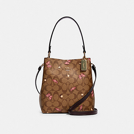COACH SMALL TOWN BUCKET BAG IN SIGNATURE CANVAS WITH BUTTERFLY PRINT - IM/KHAKI PINK MULTI/OXBLOOD - 2311