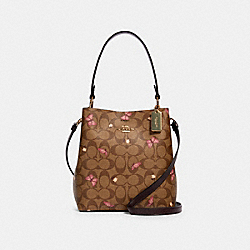 COACH 2311 - SMALL TOWN BUCKET BAG IN SIGNATURE CANVAS WITH BUTTERFLY PRINT IM/KHAKI PINK MULTI/OXBLOOD