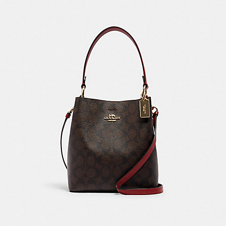 COACH SMALL TOWN BUCKET BAG IN SIGNATURE CANVAS - IM/BROWN 1941 RED - 2312