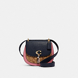 REMI SADDLE BAG IN COLORBLOCK SIGNATURE CANVAS - 2316 - IM/KHAKI/ MIDNIGHT MULTI