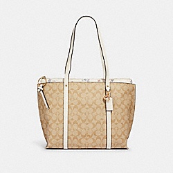 COACH 2320 - MAY TOTE IN SIGNATURE CANVAS WITH DANDELION FLORAL PRINT IM/LT KHAKI/ CHALK/ BLUE MULTI