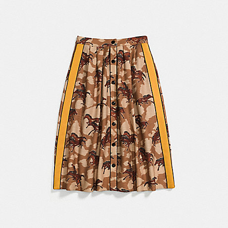 COACH HORSE PRINT PLEATED SKIRT WITH SIDE PANEL - BROWN - 23224
