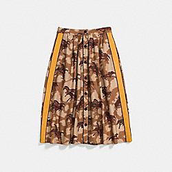 HORSE PRINT PLEATED SKIRT WITH SIDE PANEL - 23224 - BROWN