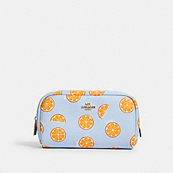 SMALL BOXY COSMETIC CASE WITH ORANGE PRINT - 2346 - IM/ORANGE/BLUE