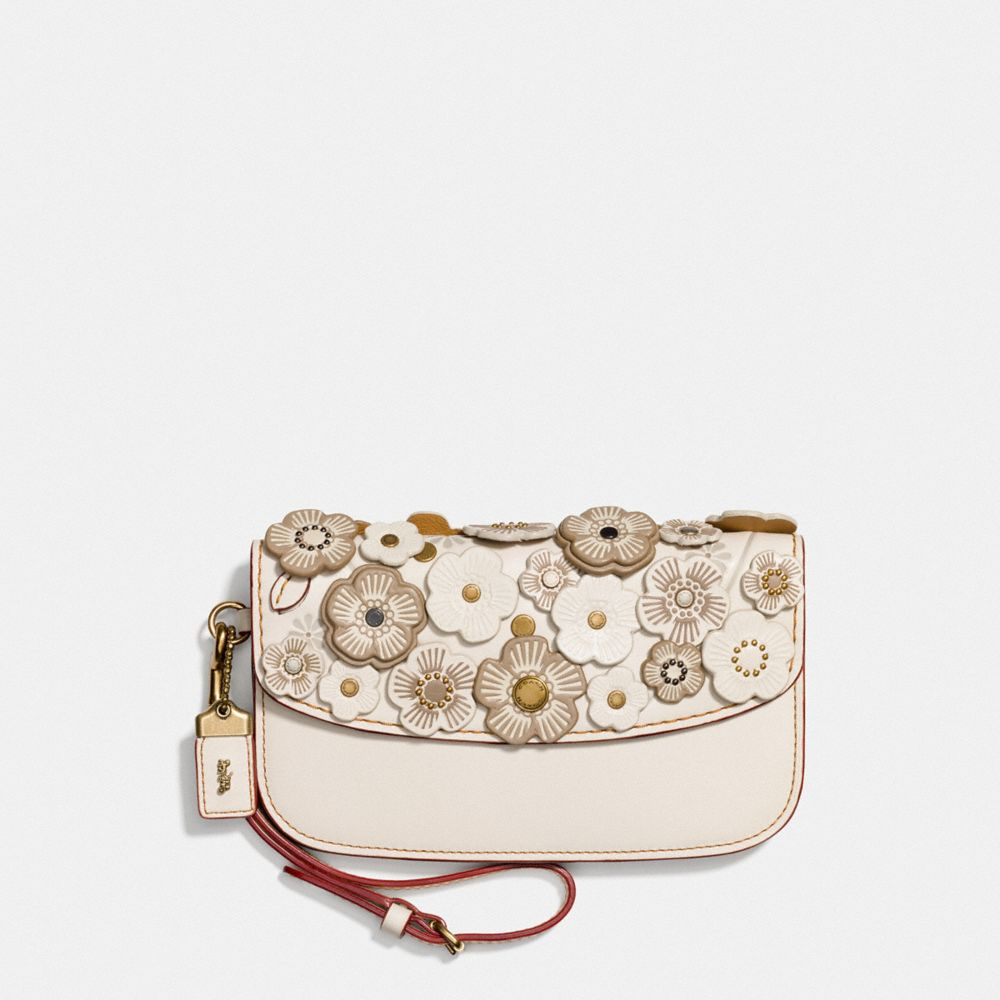 1941 Floral Leather Clutch in Brass/Chalk