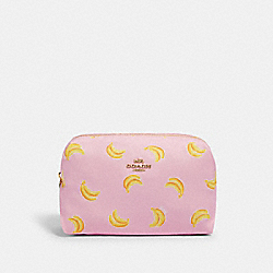 LARGE BOXY COSMETIC CASE WITH BANANA PRINT - 2354 - IM/PINK/YELLOW