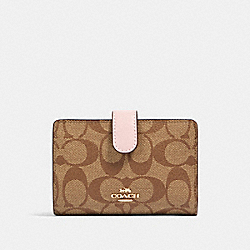 COACH 23553 - MEDIUM CORNER ZIP WALLET IN SIGNATURE CANVAS IM/KHAKI BLOSSOM