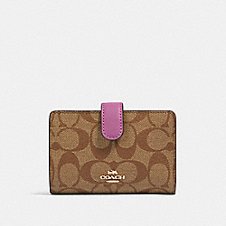 COACH 23553 Medium Corner Zip Wallet In Signature Canvas IM/KHAKI/LILAC BERRY