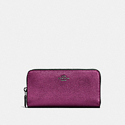 COACH 23554 Accordion Zip Wallet GM/METALLIC BERRY