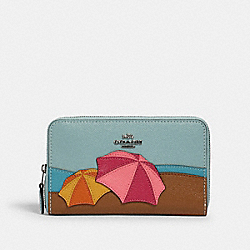 COACH 2369 - MEDIUM ZIP AROUND WALLET WITH UMBRELLA MOTIF SV/AQUA MULTI