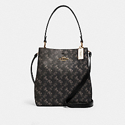 COACH 236 - TOWN BUCKET BAG WITH HORSE AND CARRIAGE PRINT IM/BLACK GREY MULTI