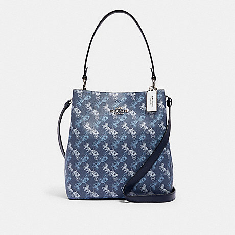 COACH 236 TOWN BUCKET BAG WITH HORSE AND CARRIAGE PRINT SV/INDIGO-PALE-BLUE-MULTI