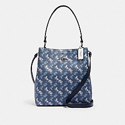 TOWN BUCKET BAG WITH HORSE AND CARRIAGE PRINT - 236 - SV/INDIGO PALE BLUE MULTI