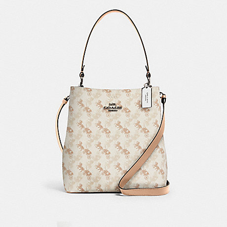 COACH 236 TOWN BUCKET BAG WITH HORSE AND CARRIAGE PRINT SV/CREAM-BEIGE-MULTI