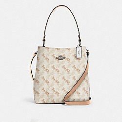 TOWN BUCKET BAG WITH HORSE AND CARRIAGE PRINT - 236 - SV/CREAM BEIGE MULTI