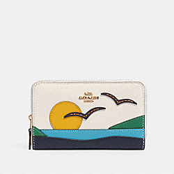 MEDIUM ZIP AROUND WALLET WITH SUNSET MOTIF - 2370 - IM/CHALK MULTI