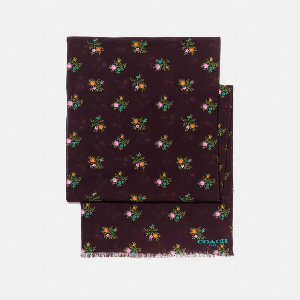 Coach Allover Cross Stitch Floral Oblong - Women'S in Oxblood