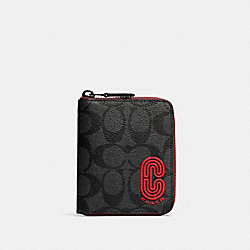 COACH 237 Medium Zip Around Wallet In Signature Canvas With Coach Patch QB/SPORT RED CHARCOAL
