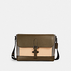 COACH 2389 Hudson Messenger In Colorblock QB/MOSS/ GREY/ SANDY BEIGE