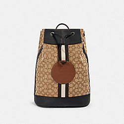 COACH 2401 - HUDSON DRAWSTRING CLOSURE BACKPACK IN SIGNATURE JACQUARD WITH STRIPE AND COACH PATCH QB/KHAKI MULTI