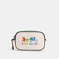JES CONVERTIBLE BELT BAG WITH RAINBOW HORSE AND CARRIAGE - 2402 - IM/CHALK MULTI