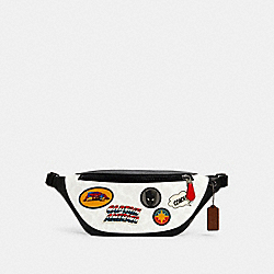 COACH │ MARVEL WARREN BELT BAG IN SIGNATURE CANVAS WITH PATCHES - 2405 - QB/CHALK MULTI