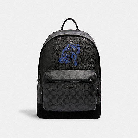 COACH 2408 COACH │ MARVEL WEST BACKPACK WITH SIGNATURE CANVAS DETAIL AND BLACK PANTHER QB/CHARCOAL BLACK