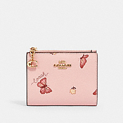 COACH 2414 - SNAP CARD CASE WITH BUTTERFLY PRINT IM/BLOSSOM/ PINK MULTI