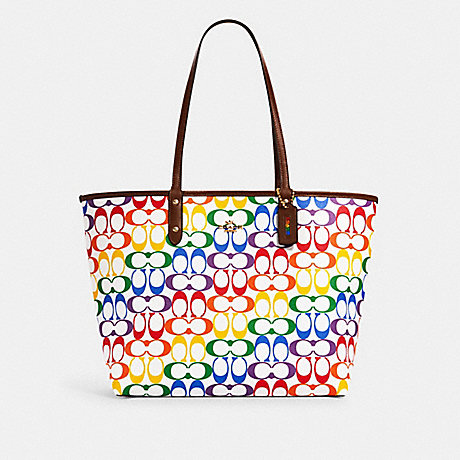 COACH 2463 REVERSIBLE CITY TOTE IN RAINBOW SIGNATURE CANVAS IM/CHALK-MULTI