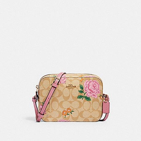 COACH MINI CAMERA BAG IN SIGNATURE CANVAS WITH PRAIRIE ROSE PRINT - IM/KHAKI MULTI - 2465