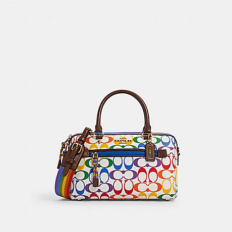 COACH 2488 ROWAN SATCHEL IN RAINBOW SIGNATURE CANVAS IM/CHALK-MULTI