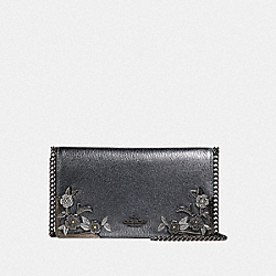 COACH 24909 - CALLIE FOLDOVER CHAIN CLUTCH WITH METAL TEA ROSE METALLIC GRAPHITE/PEWTER