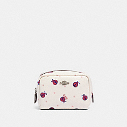 COACH 2492 Mini Boxy Cosmetic Case With Ladybug Print SV/CHALK/ RED MULTI