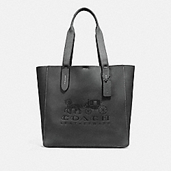 COACH 25099 - GROVE TOTE WITH HORSE AND CARRIAGE DARK GUNMETAL/BLACK
