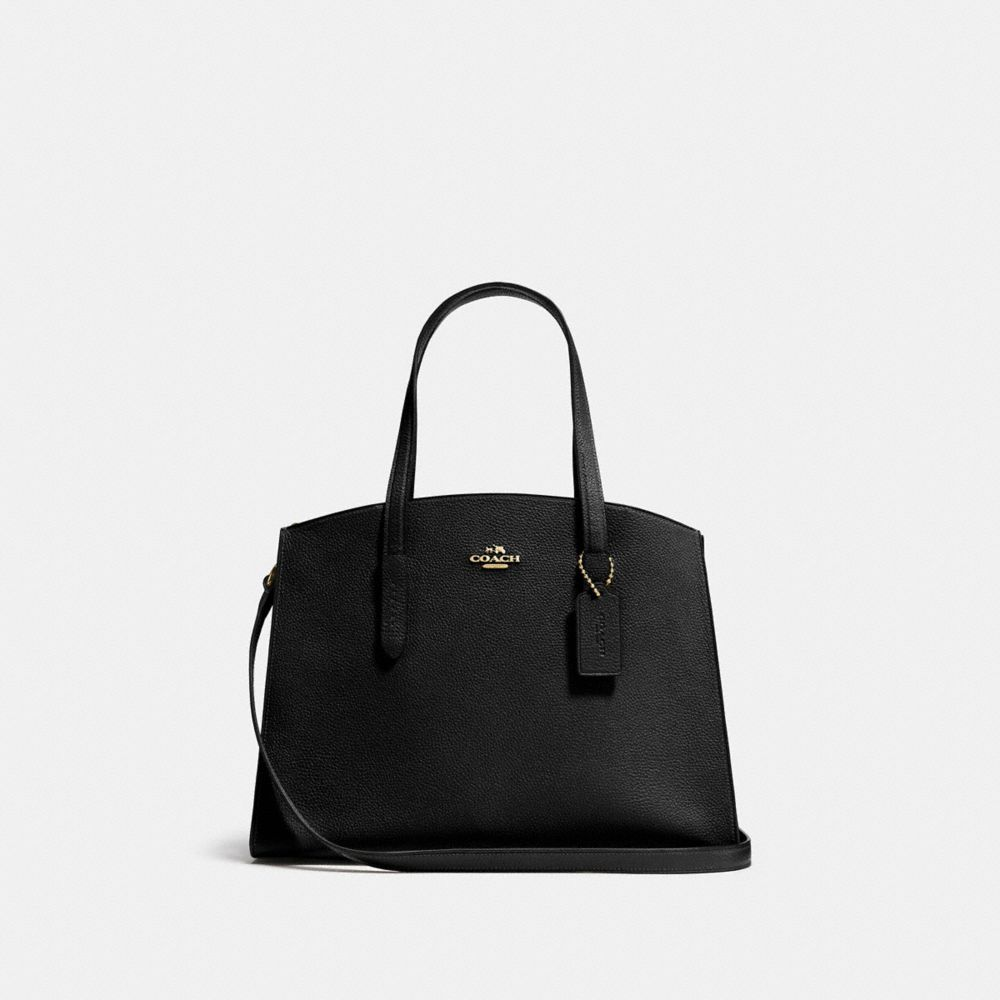 Charlie Polished Pebbled Leather Carryall Tote Bag in Black