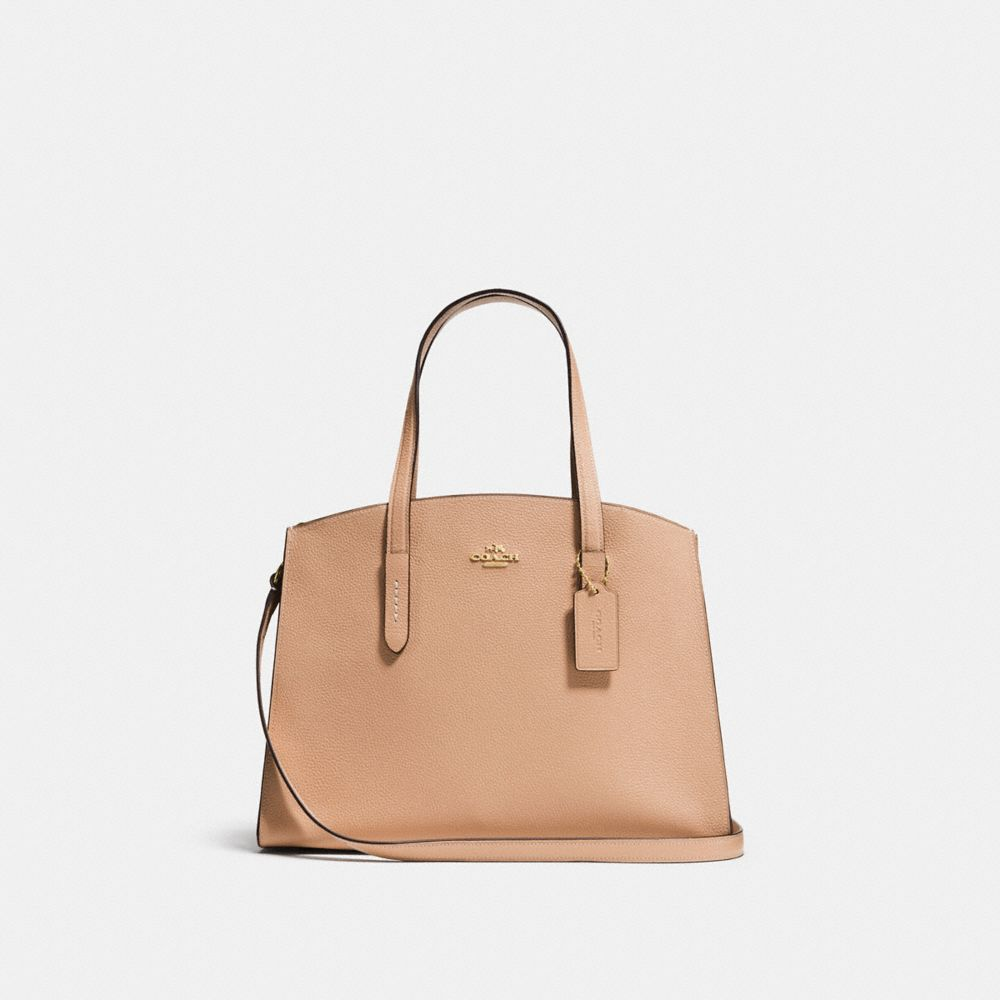 Charlie Small Grained Leather Shoulder Bag in Neutrals