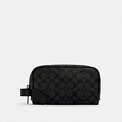 SMALL TRAVEL KIT IN SIGNATURE CANVAS - 2515 - QB/CHARCOAL/BLACK