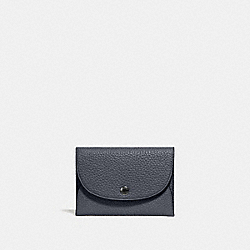 COACH 25414 Snap Card Case In Colorblock BLACK/MIDNIGHT