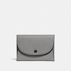 COACH 25414 Snap Card Case In Colorblock HEATHER GREY/DENIM