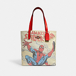 COACH │ MARVEL TOTE WITH SPIDER-MAN - SV/MIAMI RED MULTI - COACH 2549