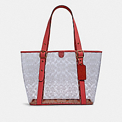 SMALL FERRY TOTE IN SIGNATURE CLEAR CANVAS - 2564 - IM/CLEAR/ PINK LEMONADE