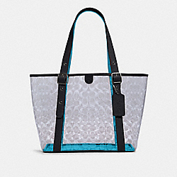 SMALL FERRY TOTE IN SIGNATURE CLEAR CANVAS - 2564 - SV/CLEAR/ MIDNIGHT
