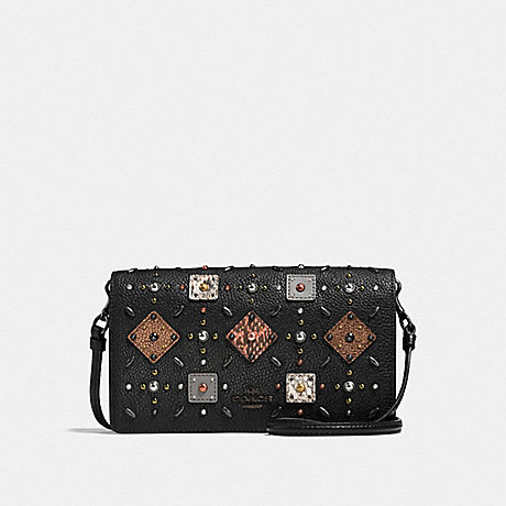 COACH 25681 FOLDOVER CROSSBODY CLUTCH WITH PRAIRIE RIVETS AND SNAKESKIN DETAIL BLACK/BLACK COPPER