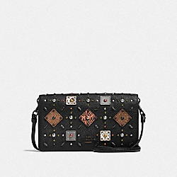 COACH 25681 - FOLDOVER CROSSBODY CLUTCH WITH PRAIRIE RIVETS AND SNAKESKIN DETAIL BLACK/BLACK COPPER