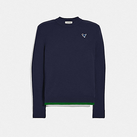 COACH 25760 CREWNECK SWEATER WITH REXY PATCH NAVY