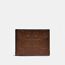 COACH 26003 Slim Billfold Wallet In Signature Leather SADDLE