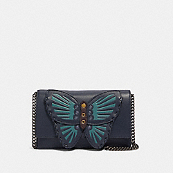 FLAP BELT BAG WITH BUTTERFLY APPLIQUE - 2609 - QB/MIDNIGHT