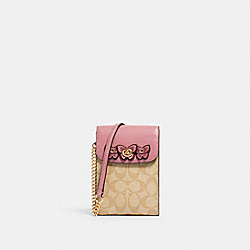 COACH 2614 - RACHEL PHONE CROSSBODY IN SIGNATURE CANVAS WITH BUTTERFLY APPLIQUE IM/LT KHAKI/ ROSE
