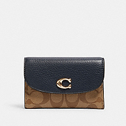 COACH 2617 - REMI MEDIUM ENVELOPE WALLET IN COLORBLOCK SIGNATURE CANVAS IM/KHAKI/ MIDNIGHT MULTI